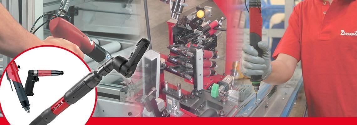 Spoločnosť Desoutter Industrial Tools vyrába kompletný sortiment pneumatického uťahovacieho náradia vrátane skrutkovačov bez vypínania s rukoväťou v tvare pištole pre maximálnu presnosť a kvalitu.